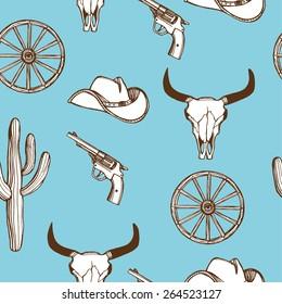 Hand drawn Wild West western seamless pattern. Gun, cactus, wheel, cow scull. Blue background