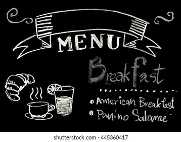 Hand drawn word breakfast menu on chalkboard background with copyspace and black and white style