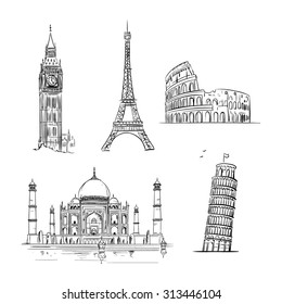 Hand drawn world landmark set. Travel and tourism background.