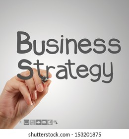 hand draws business strategy as concept
