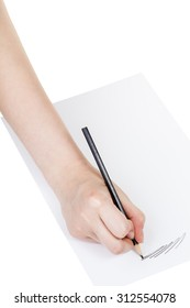hand draws by black pencil on sheet of paper isolated on white background