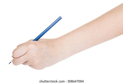 hand draws by blue pencil isolated on white background
