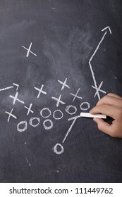 A hand draws a football play on a chalkboard with chalk.