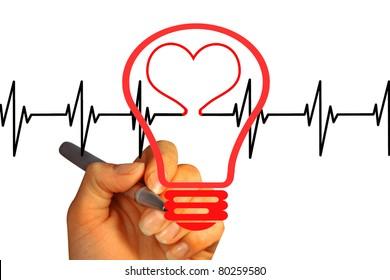 hand draws a heartbeat