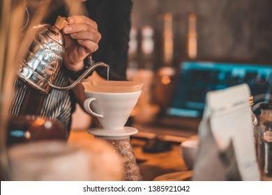Hand drip coffe,Barista is making coffee