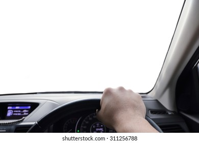 hand driving a car with isolated window
