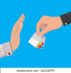 Hand of the drug dealer gives bag of narcotic pills and cocaine to other hand. Anti-drug concept. Rejection. illustration in flat style