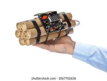 Hand with dynamite stick isolated on white background