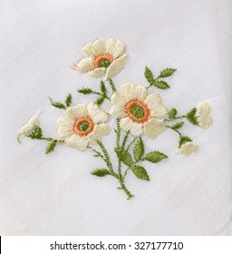 Hand embroidered flower