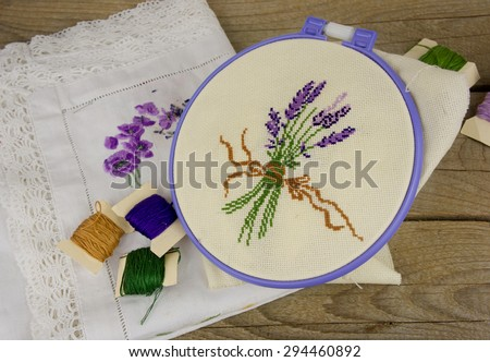 Hand Embroidery On Fabric Pattern Lavender Stock Photo Edit Now