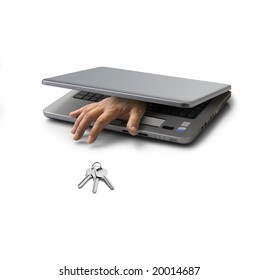 hand emerging from a closed pc laptop trying to steal a key