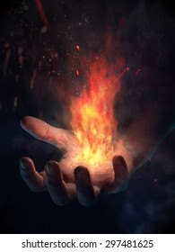 Hand emitting energy and fire