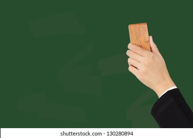 Hand erasing on chalkboard