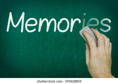 Hand erasing the word MEMORIES written on blackboard