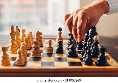 Hand of an experienced chess players