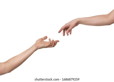 Hand extended from above demonstrates leniency to the other asking hand. Isolated on white background with copy space