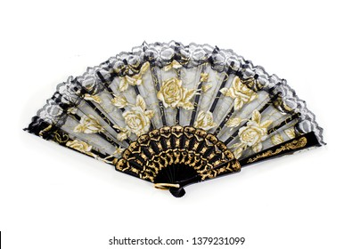 Hand fan isolated on white background