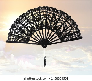 Hand fan lace embroidered