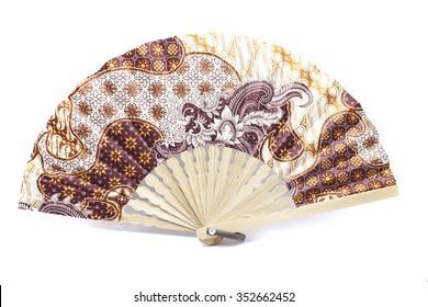 hand fan patterned batik isolated on white background
