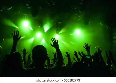 Hand fans raised up, during a concert, show or performance