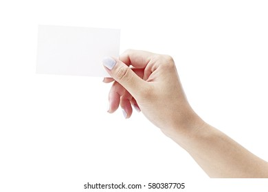 hand of a female holding a white blank card.