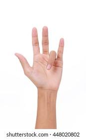 Hand of female trigger finger on white background
