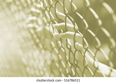 hand at fence prison in jail, no freedom struggle concept.