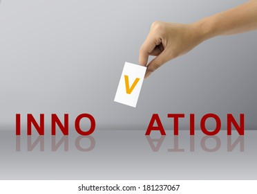 Hand Fill Letter for Complete Innovation business word