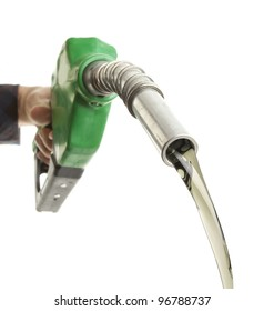 Hand filling gas on white
