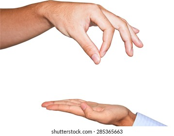 Hand finger for beg with give on white isolated background