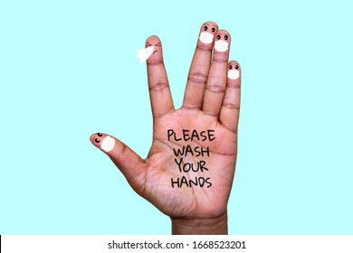 A hand with finger faces wearing face masks with one finger sneezing, please wash your hands text on hand, washing your hands with soap to stop infection spreading concept