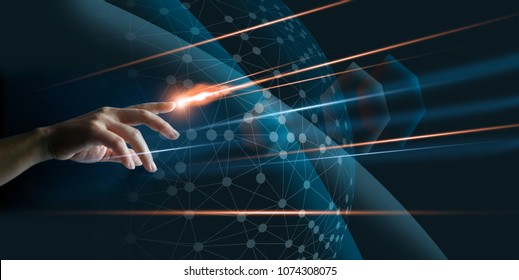 Hand finger with lighting touching global network connection, internet fast speed, on dark background. Technology and social concept