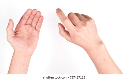 hand finger point touch empty palm pad isolated on white