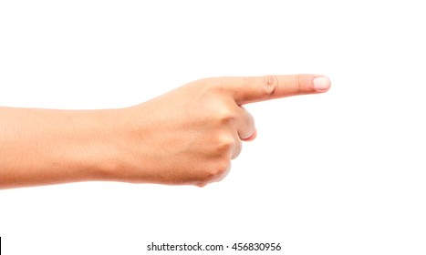 Hand finger pointing isolated on white background - Shutterstock ID 456830956