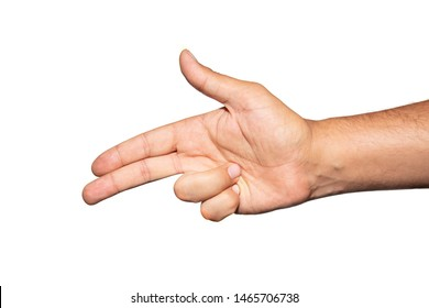 Hand with fingers set into gun gesture. Isolated on a white background. Symbolizing shooting someone into the head.