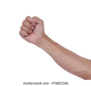 Hand fist isolated on white background