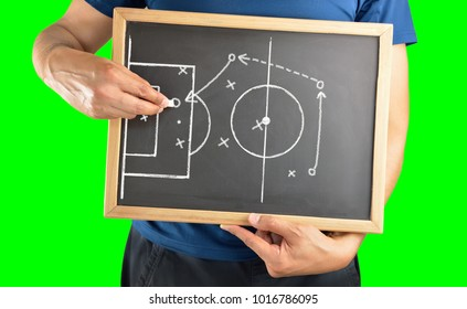 hand of a football coach drawing a soccer game tactics with white chalk on blackboard.Isolated cutout on green background with chroma key