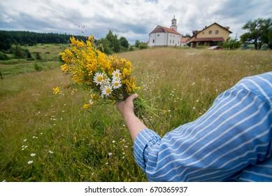 hand full of flowers