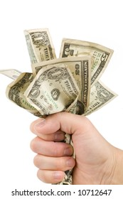 a hand full of us dollars, financial concept