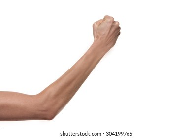 Hand gesture. Arm with Fist punching the air. Studio shot isolated on white background