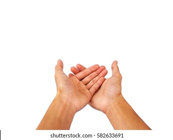Hand gesture of asking for or receiving anything.