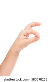 hand gesture of the child isolated on the white background