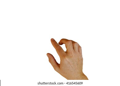 Hand gesture: finger swipe, tap, point, or drag. Isolated on white background.