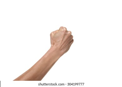 Hand gesture. Fist punching the air. Studio shot isolated on white background