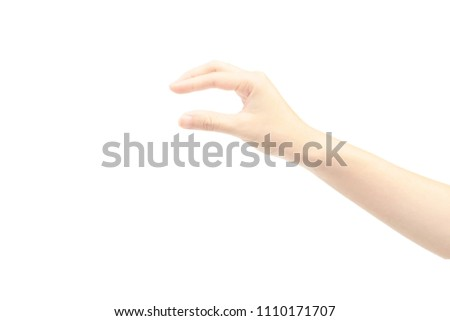 Hand Gesture Grab Something Isolated On Stock Photo (Edit