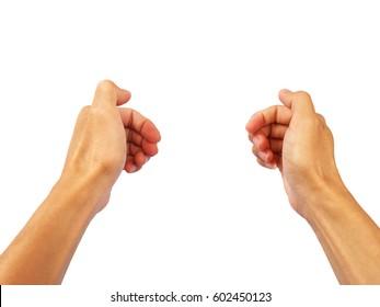 Hand gesture of gripping the steering wheel.