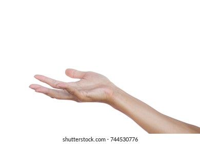 Hand gesture open up seem like a holding something empty isolated on white background. Clipping path. Hand gestures are languages that people can not speak and deaf people communicate with people.
