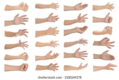 Hand gesture and sign collection isolated on white background. Object with clipping path.