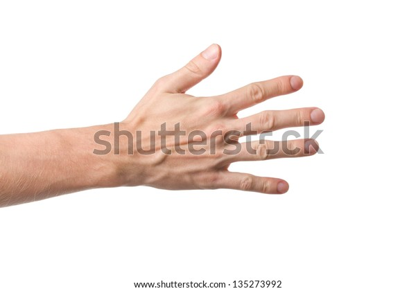 Hand gesture with spaced fingers isolated on white background
