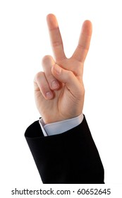 Hand gesture symbolizing victory - isolated on white.